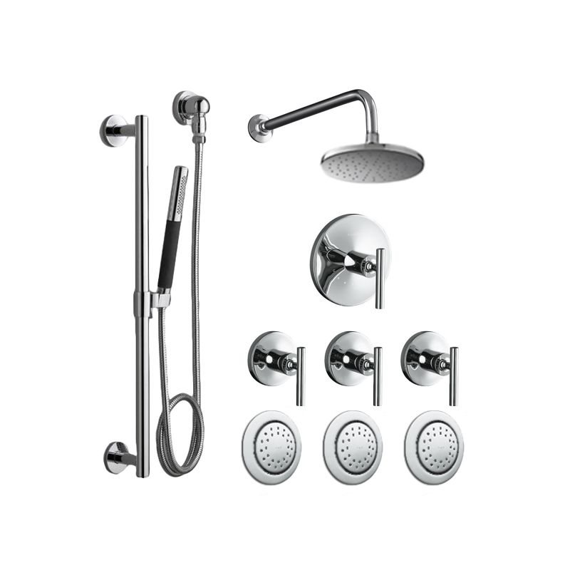 Kohler K Purist Shwr System 3bs Cp Polished Chrome Complete Thermostatic Rain Shower With Hand 3 Body Sprays Volume Control