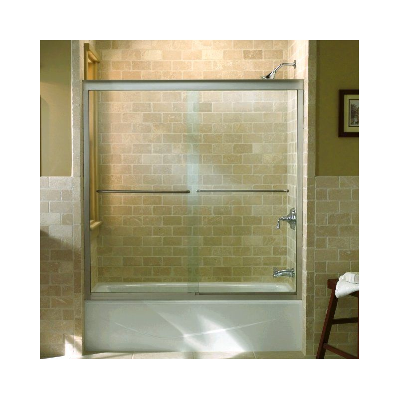 Kohler K-702200-L-MX Matte Nickel Fluence frameless bypass bath door ...
