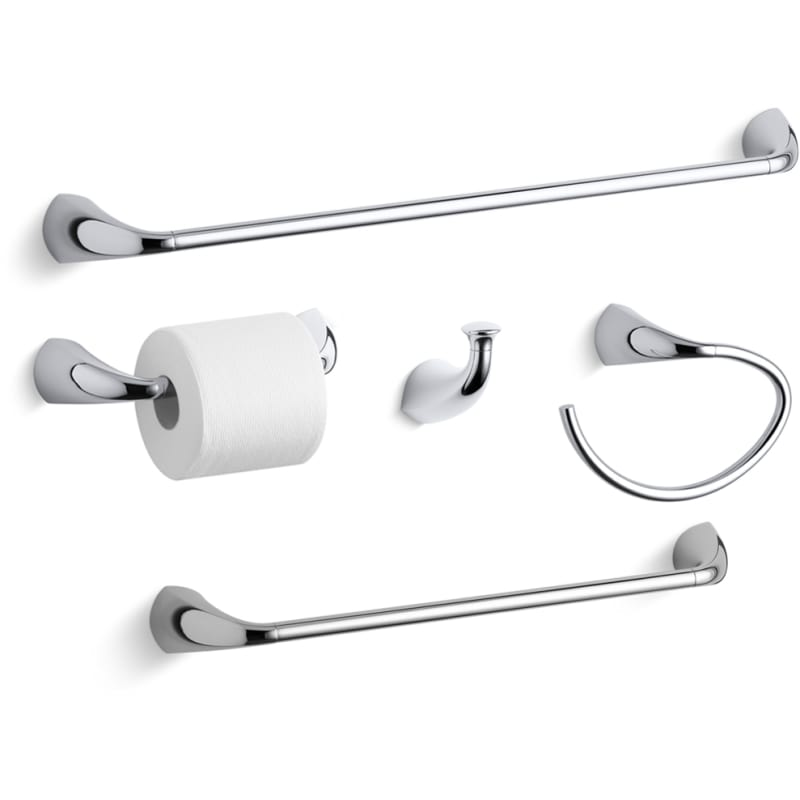Kohler Alteo Best Accessory Pack Cp Polished Chrome 24 Towel Bar 18 Ring Single Robe Hook And Tissue Holder Faucetdirect