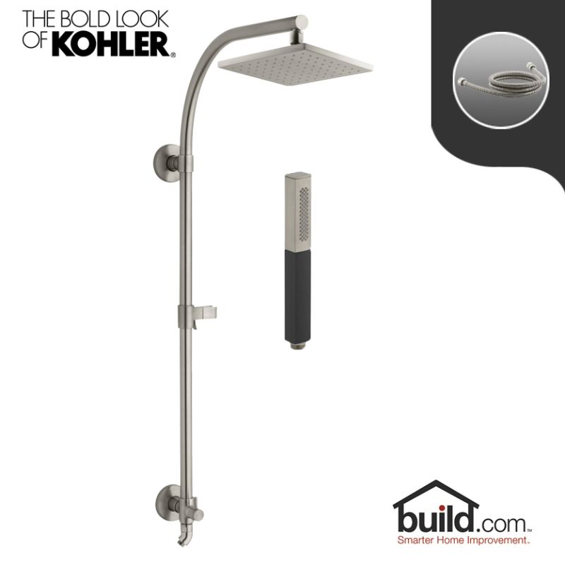 kohler hydrorail package polished chrome shift hydrorail shower package with single function shower head and hand shower