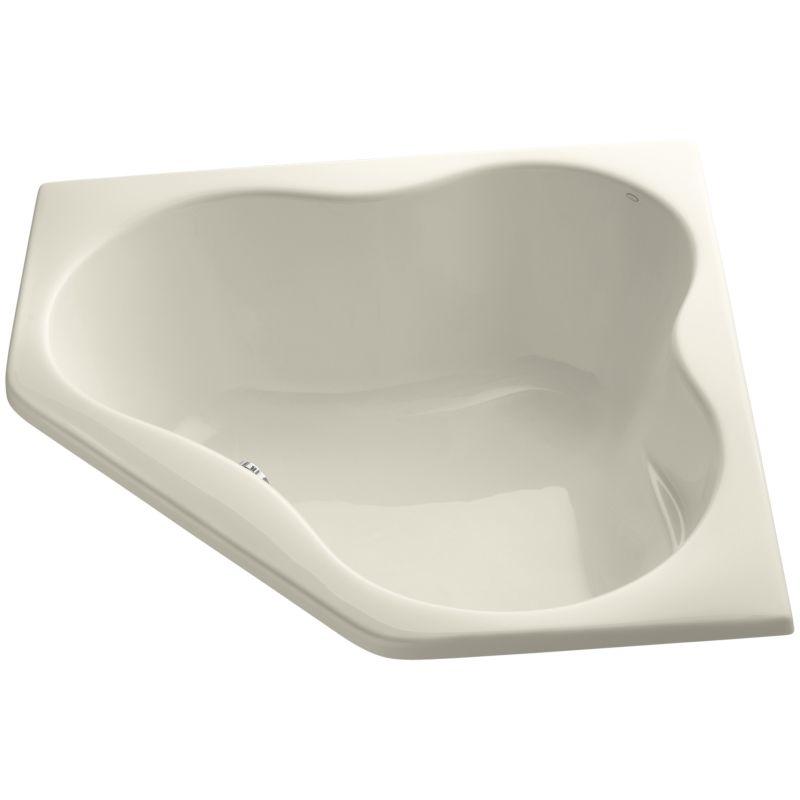 Kohler K 1155 47 Almond Proflex Collection 54 Corner Soaking Bath Tub With Center Drain Faucet