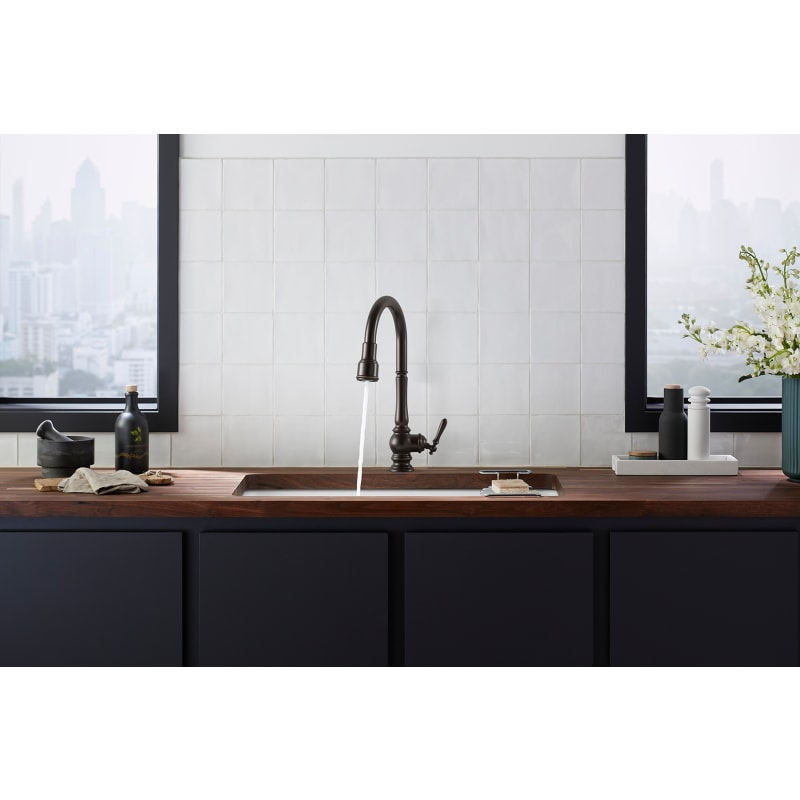 Kohler K 29709 2bz Oil Rubbed Bronze Artifacts 1 5 Gpm Single Hole Pull Down Kitchen Faucet With Response Touchless Faucet Technology Faucetdirect Com