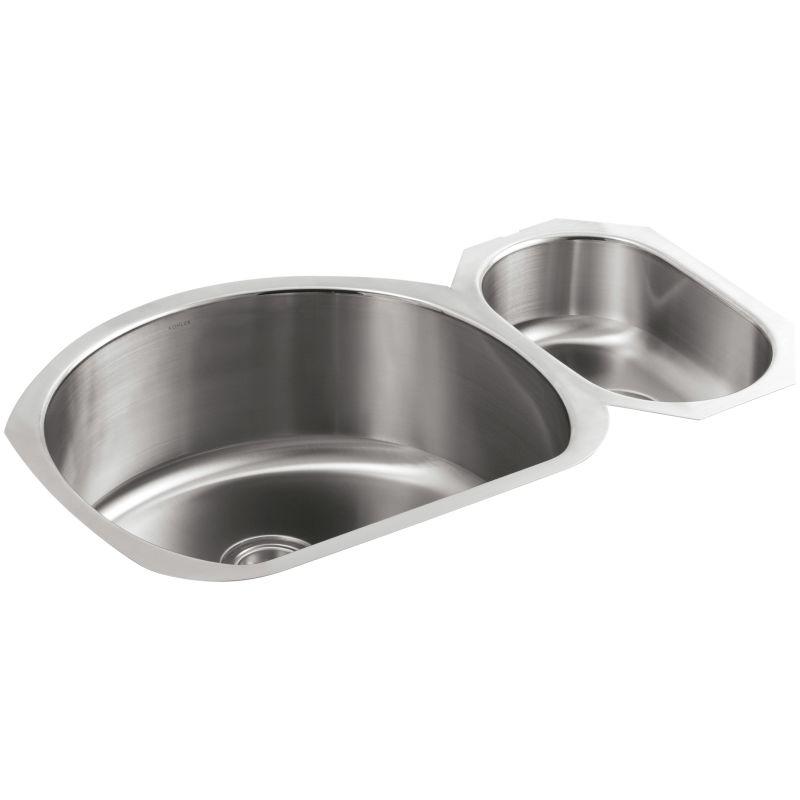 Kohler K 3099 Na Stainless Steel Undertone 35 Double Basin Under Mount 18 Gauge Kitchen Sink With Silentshield Faucet Com