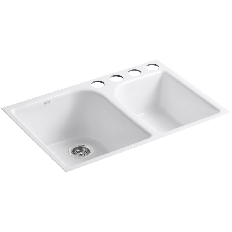 Kohler K 5931 4u 0 White Executive Chef 33 Double Basin Under Mount Enameled Cast Iron Kitchen Sink Faucet