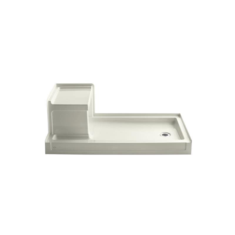 Kohler K 1976 95 Ice Grey Tresham 60 X 32 Single Threshold Shower Base With Right Drain And Built In Seat Faucetdirect Com