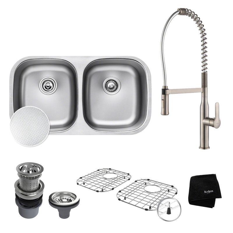 Kraus KBU22E / KPF-1650 Stainless Steel / Chrome Kitchen Sink ...