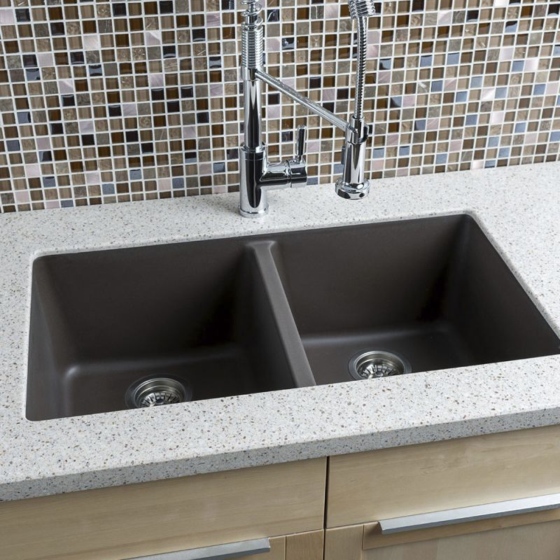 Miseno Mgr33185050 Br Mocha 33 Undermount Double Bowl Granite Composite Kitchen Sink With 50 Split Stainless Steel Drain Emblies Included Free