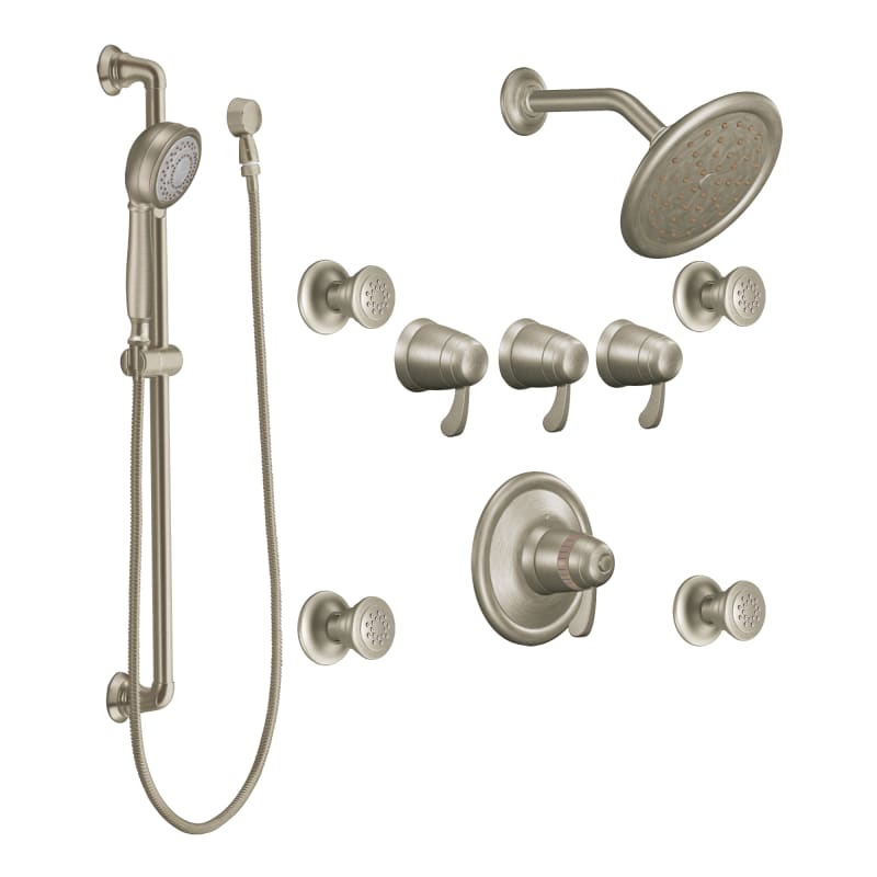 Moen 275bn Brushed Nickel Quad Handle Vertical Spa Trim With 4 Body