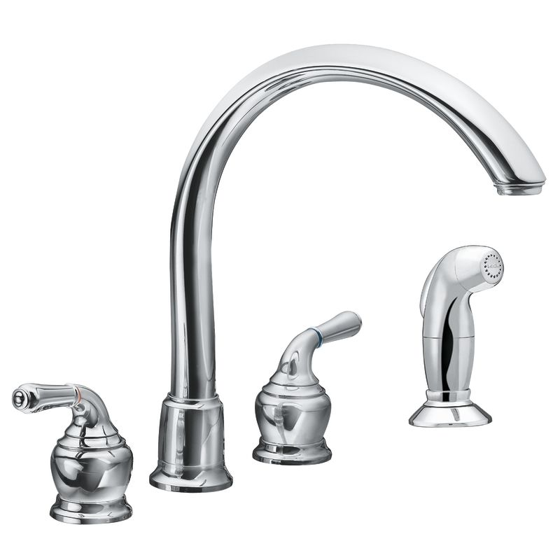 Moen 7786 Chrome Double Handle Kitchen Faucet With Gooseneck Spout