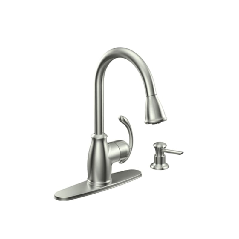 Moen CA87055SRS Spot Resist Stainless Single Handle Kitchen Faucet ...