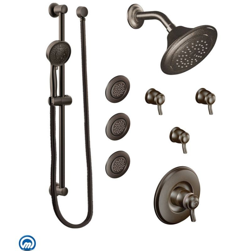 Moen 2096ORB Oil Rubbed Bronze Thermostatic Shower System with ...