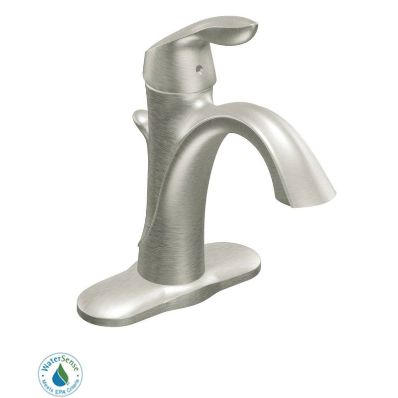 Moen 6400BN Brushed Nickel Single Handle Single Hole Bathroom Faucet ...