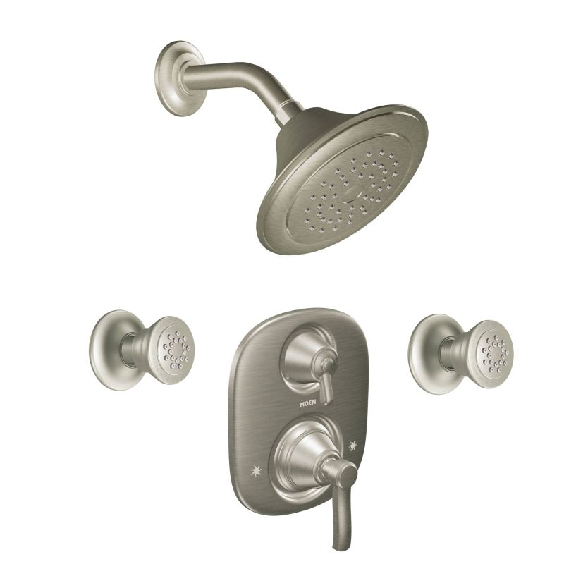Moen 703ORB Oil Rubbed Bronze Pressure Balanced Shower System With Shower  Head, Diverter, Volume Control, And 2 Body Sprays From The Rothbury  Collection ...