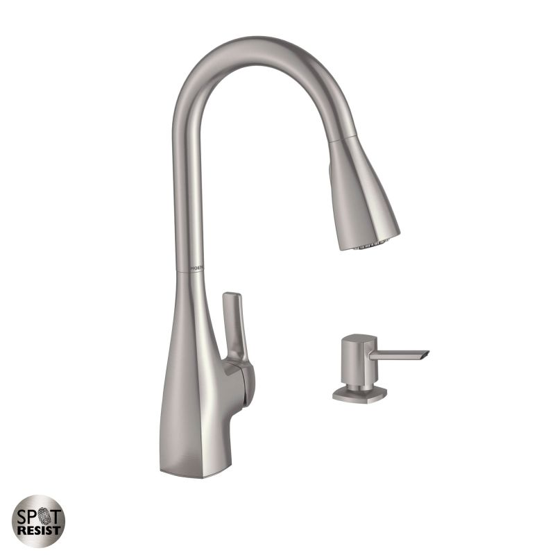 Moen 87599SRS Spot Resist Stainless Pullout Spray High Arc Kitchen Faucet  With Reflex Technology And Soap Dispenser From The Kiran Collection ...