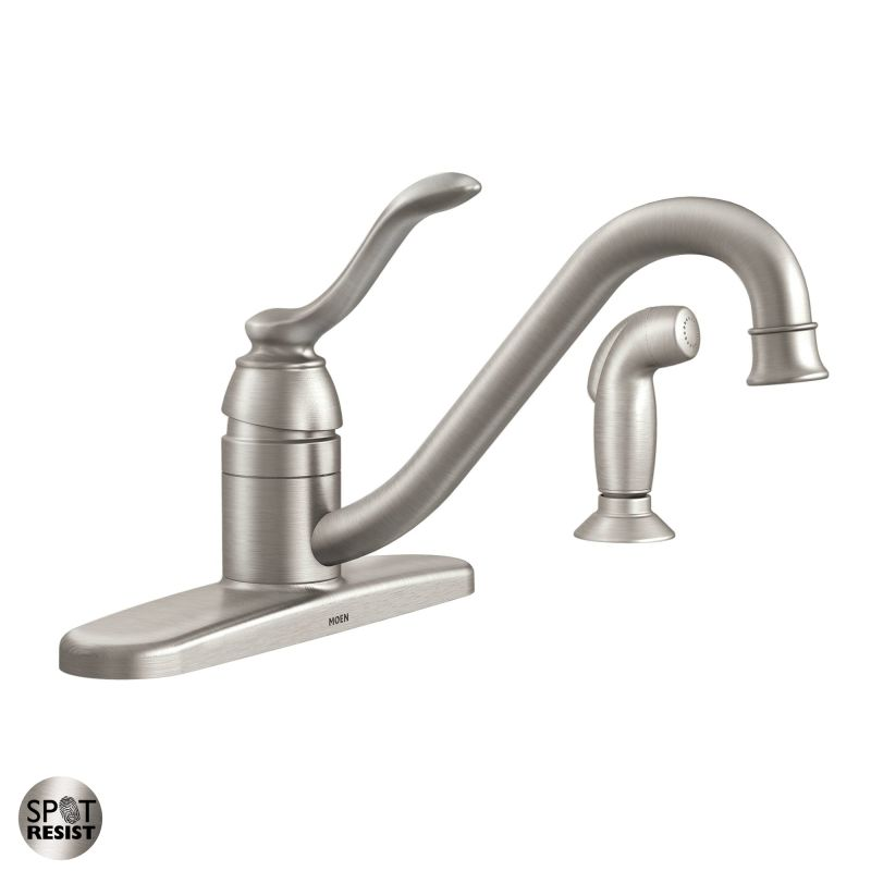 Moen 87690SRS Spot Resist Stainless Kitchen Faucet with Side Spray from the Banbury Collection - Faucet.com