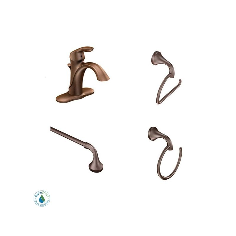 Moen Eva Faucet and Accessory Bundle 2CH Chrome with Single Hole ...