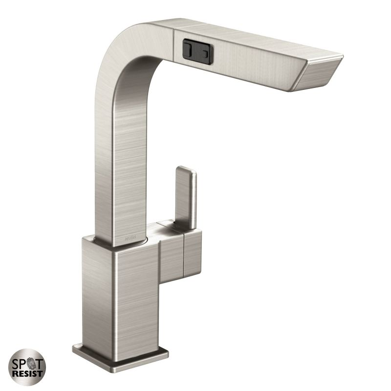 moen s7597c chrome pullout spray high arc kitchen faucet from the 90 degree collection faucetcom - Moen Kitchen Faucet