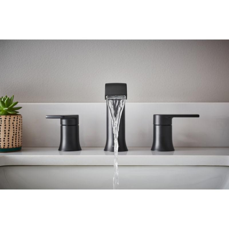 Black Moen T6708 Genta 1.2 GPM Widespread Bathroom Faucet
