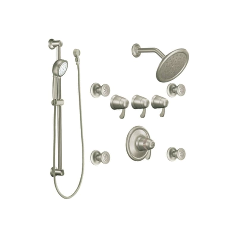 Moen TS275BN Brushed Nickel Quad Handle Vertical Spa Trim with ...