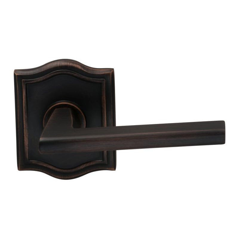 Omnia 925ar 0 Pd10b Lacquered Oil Rubbed Bronze Wedge Non Turning Two Sided Door Lever Set With Arched Rose From The Prodigy Collection Handlesets Com