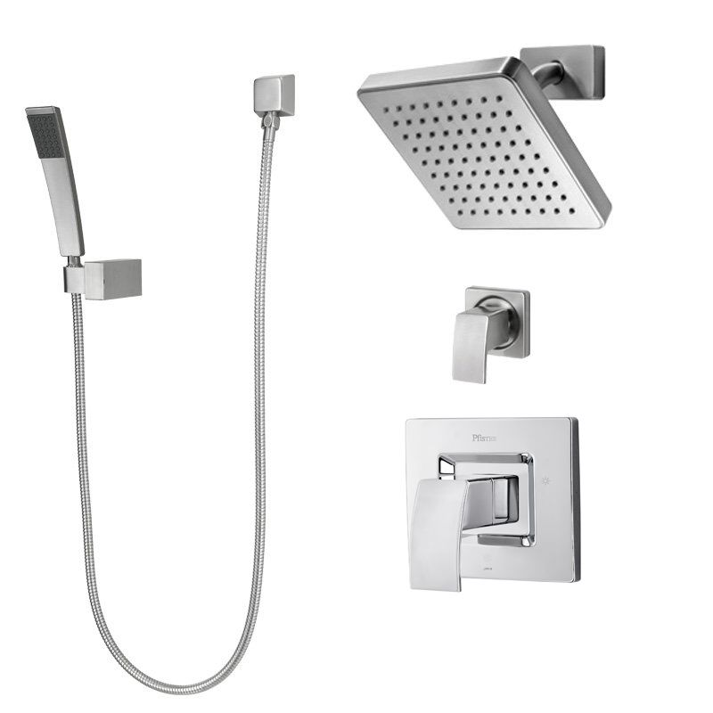 Pfister B89-7DFK Brushed Nickel Kenzo Shower System with Valve Trim ...
