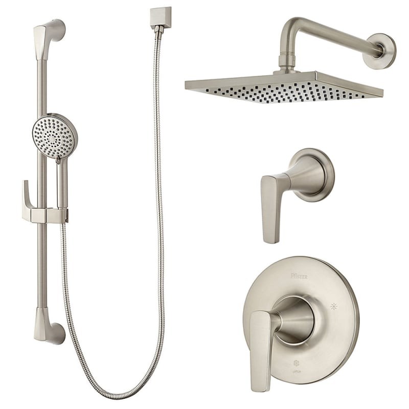 Pfister B89-7MFK Brushed Nickel Kelen Shower System with Valve Trim ...