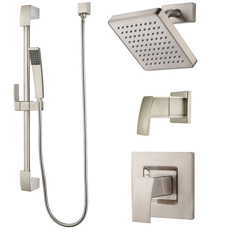 Pfister BK89-7DFK Brushed Nickel Kenzo Shower System with Valve Trim ...