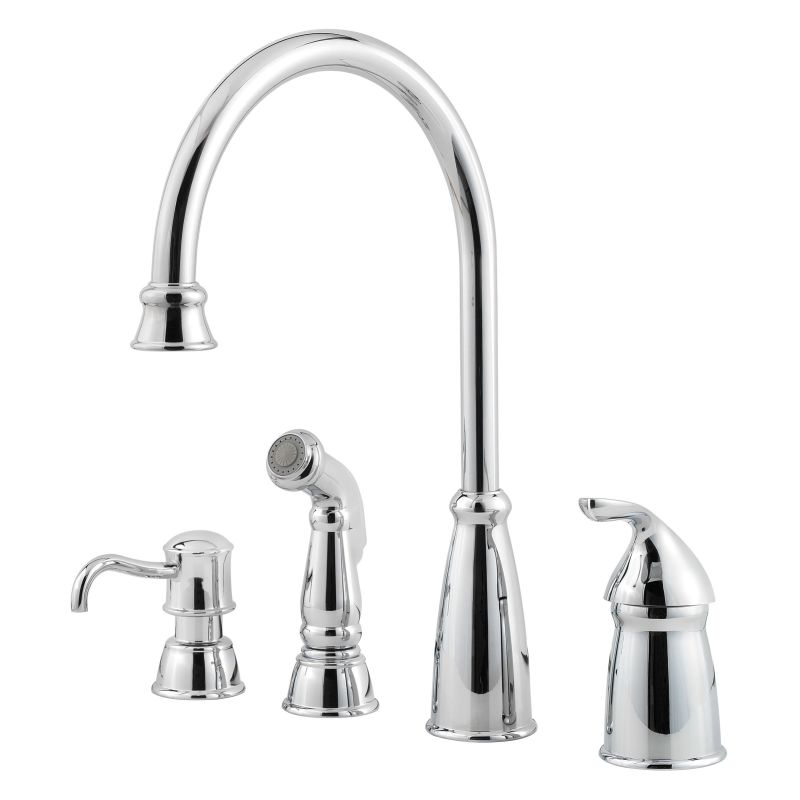 Pfister Gt26 4cbs Stainless Steel Avalon High Arc Kitchen Faucet Includes Sidespray Faucet Com