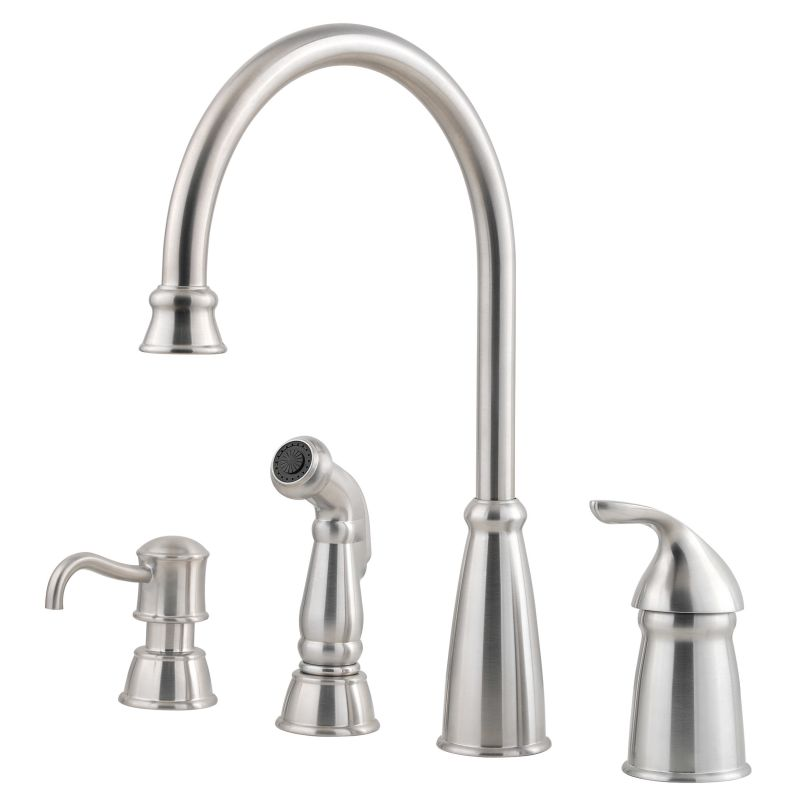pfister gt26 4cbs stainless steel avalon high arc kitchen faucet includes sidespray faucetcom - Pfister Kitchen Faucet