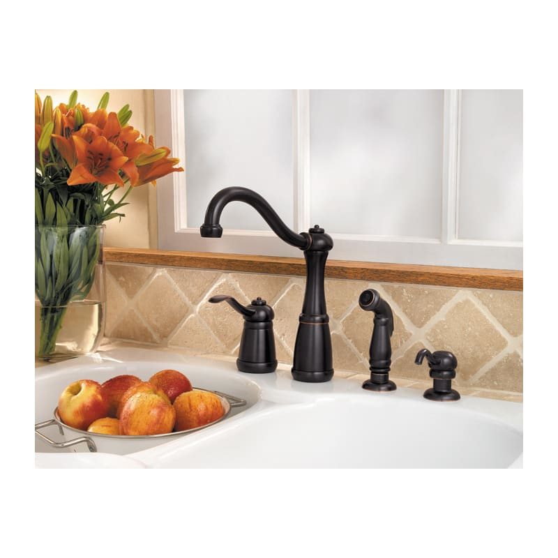 Pfister Gt26 4nyy Tuscan Bronze Marielle High Arc Kitchen Faucet With Flex Line Supply Lines And Pfast Connect Technologies Includes Sidespray Faucet Com