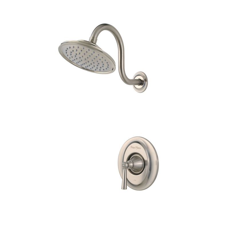 pfister r897glk brushed nickel saxton shower trim package with single function rain shower head faucetcom