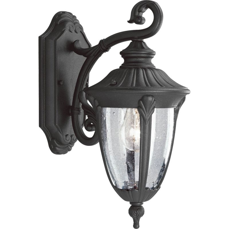 Progress Lighting P5820 31 Textured Black Meridian 1 Light 15 Tall Outdoor Wall Sconce With Clear Seeded Gl Shade Faucet