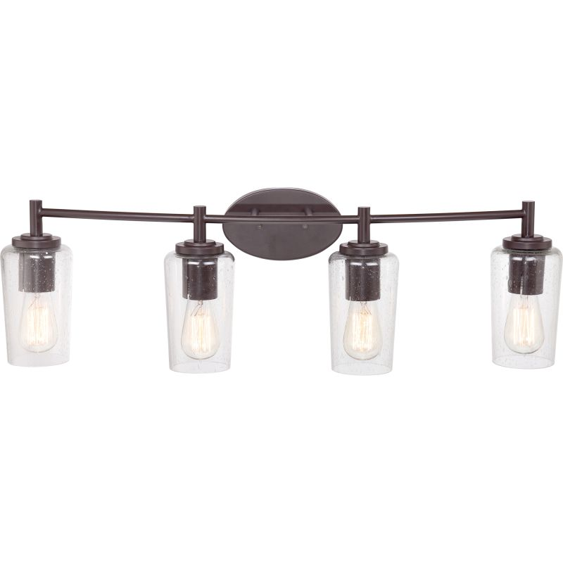 "Bathroom Vanity Lights In Bronze quoizel eds8604wt western bronze edison 4 light 32-1/2"" wide"
