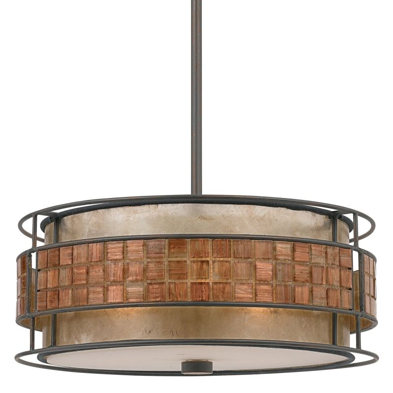 quoizel mc842crc renaissance copper laguna 3 light drum pendant with oyster mica and mosaic tile shade