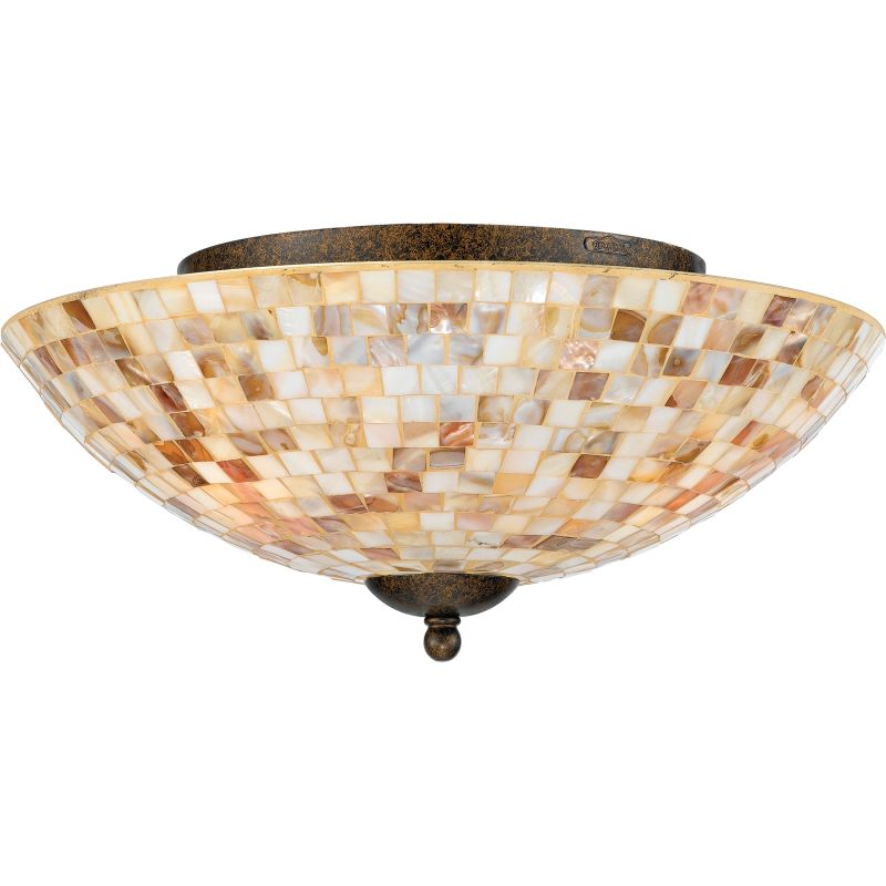 Quoizel My1613ml Malaga Monterey Mosaic 3 Light 16 Wide Flush Mount Ceiling Fixture With Pen Shell Shade Lightingdirect