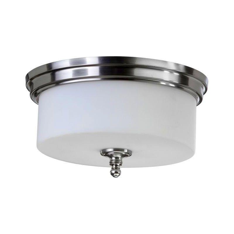 Quorum International 3090 14 65 Satin Nickel Rockwood 3 Light Flushmount Ceiling Fixture Lightingdirect Com
