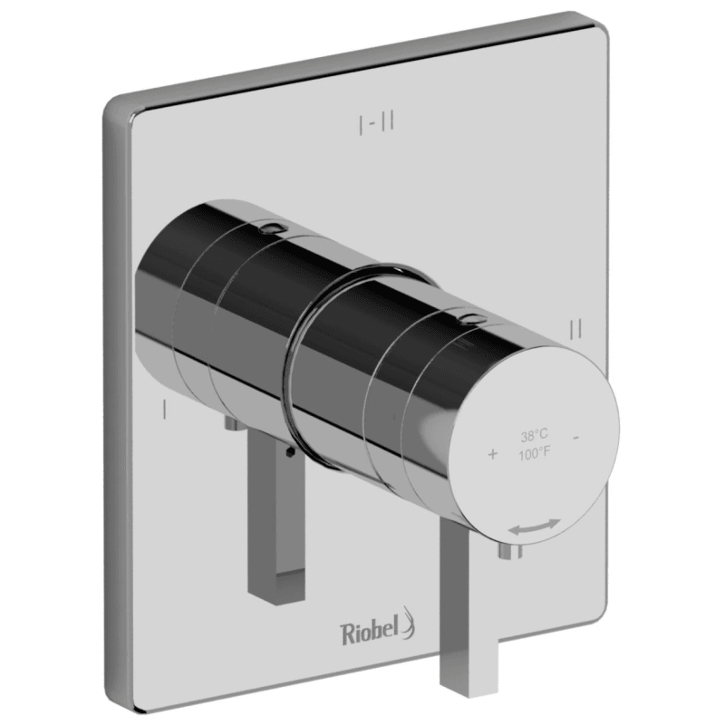 Riobel Tpftq23c Chrome Profile Dual Function Thermostatic Valve Trim Only With Single Lever Handle And Integrated Diverter Less Rough In Faucet Com