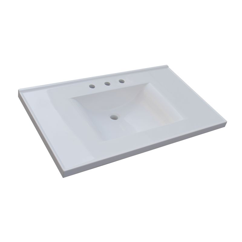 Sagehill Designs Wb3722 W White 37 Cultured Marble Vanity Top With Integrated Sink Faucet