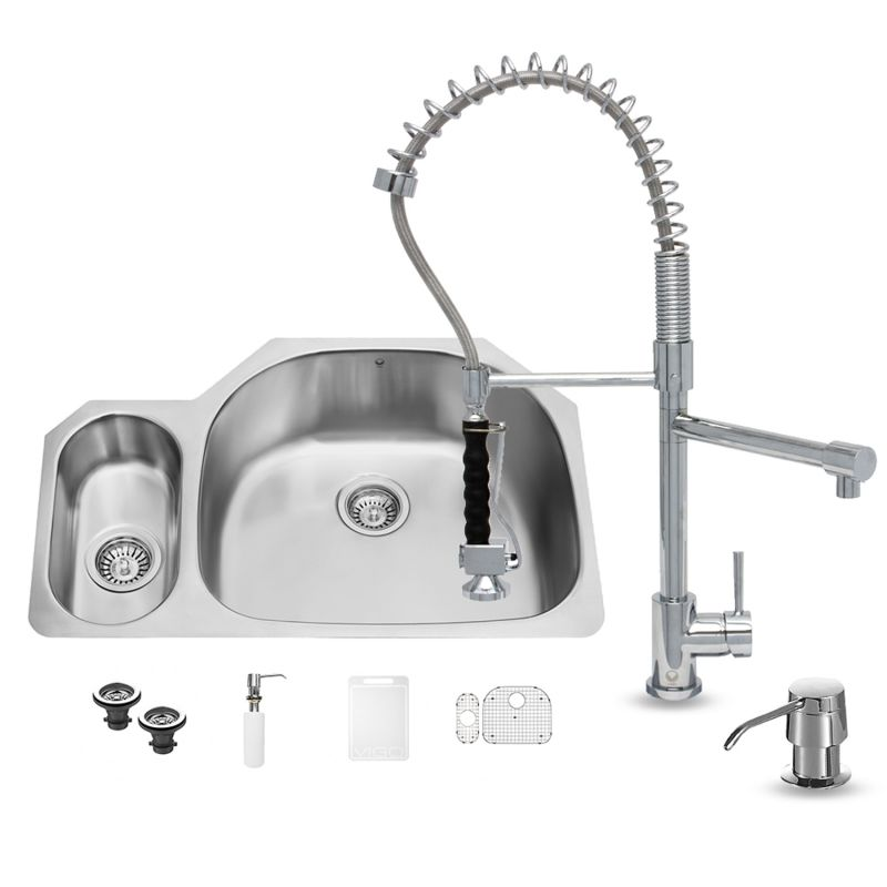 Vigo Vg15326 Stainless Steel 31 3 4 Double Basin Undermount Kitchen Sink With Zurich Chrome Finish Faucet Soap Dispenser Basin Racks Basket Strainers And Cutting Board Faucet Com