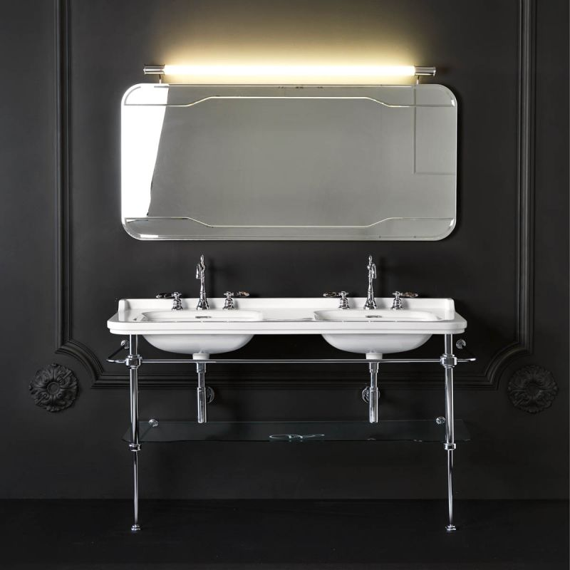 """WS Bath Collections Waldorf 4143K1.01+9195K1 1 Faucet Hole Waldorf Ceramic White 59-1/10"""" Console Double Basin Bathroom Sink with Overflow and Metal Support ..."""