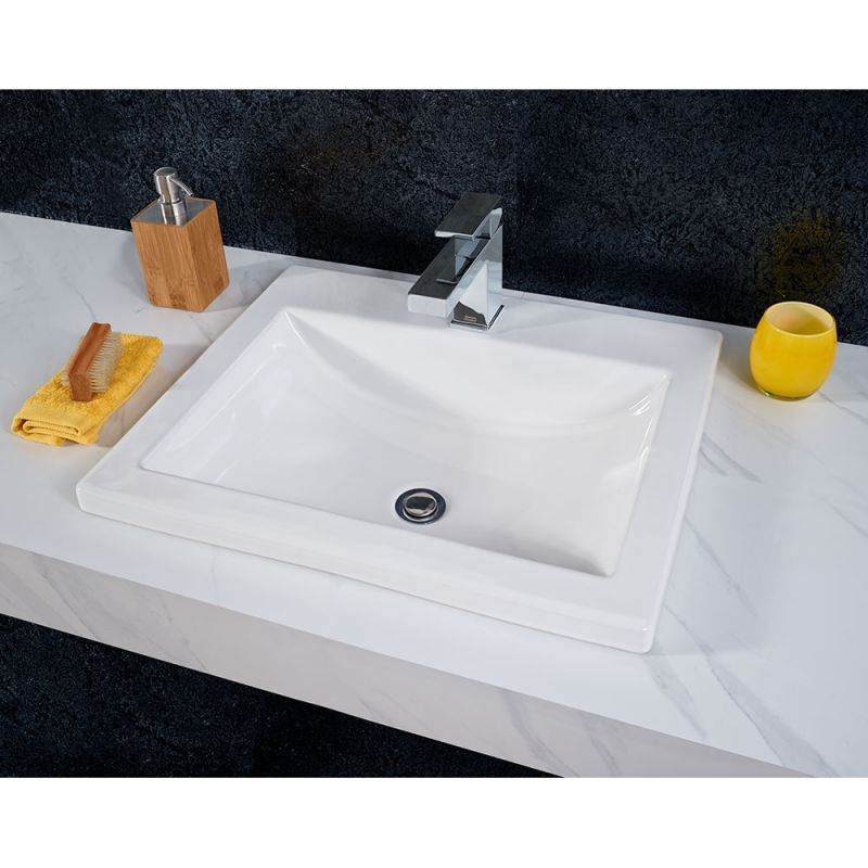 American Standard 0643 001 020 White 21 1 4 Drop In Bathroom Sink With Hole Drilled And Overflow Faucet