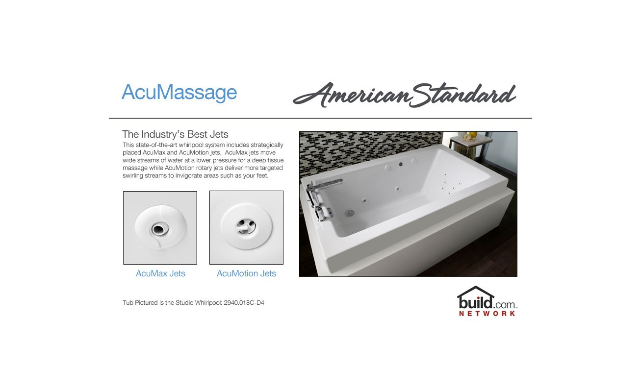 "American Standard 2675.018.020 White Colony 60"" Acrylic Whirlpool Bathtub  with Reversible Drain and AcuMassage Jets - Faucet.com"