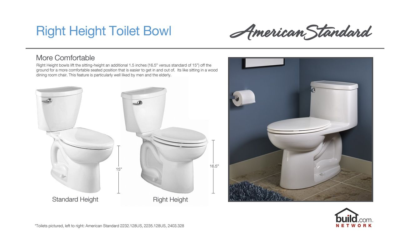 standard dimensions of a toilet. American Standard 3075000 020 White Cadet 3 Elongated Toilet Bowl Only with  Concealed Trapway EverClean Surface PowerWash Rim and Right Height