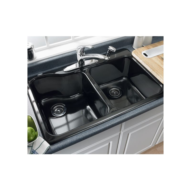 American Standard 7145.001.345 Bisque Double Basin Americast Kitchen Sink  With Single Faucet Hole From The Silhouette Series   Faucet.com