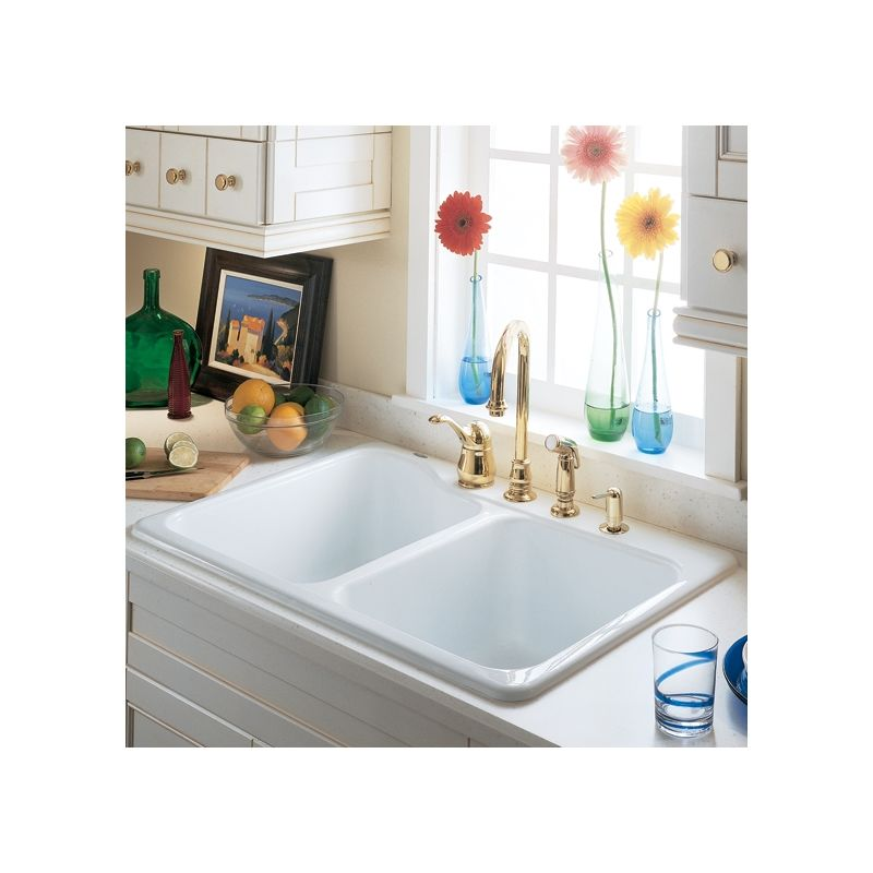 American Standard 7145 001 345 Bisque Double Basin Americast Kitchen Sink With Single Faucet Hole From The Silhouette Series