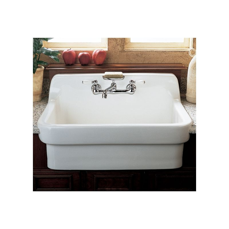 American Standard 9062 008 020 White Country 30 Single Basin Vitreous China Kitchen Sink For Drop In Installations Faucet
