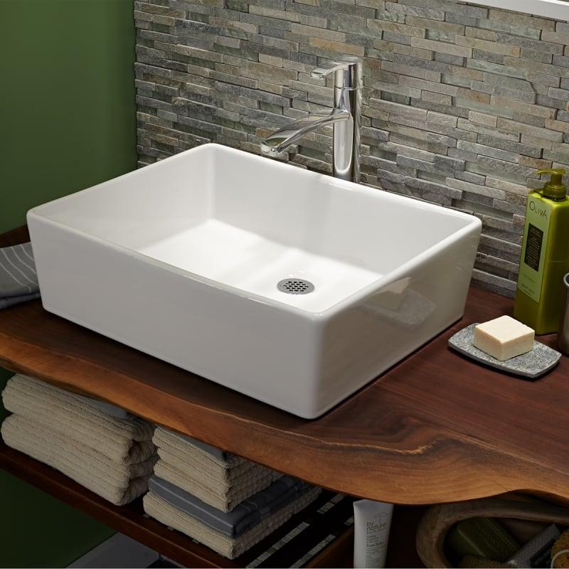American Standard 0552 000 020 White Loft 19 5 8 Vessel Fireclay Bathroom Sink Faucetdirect Com