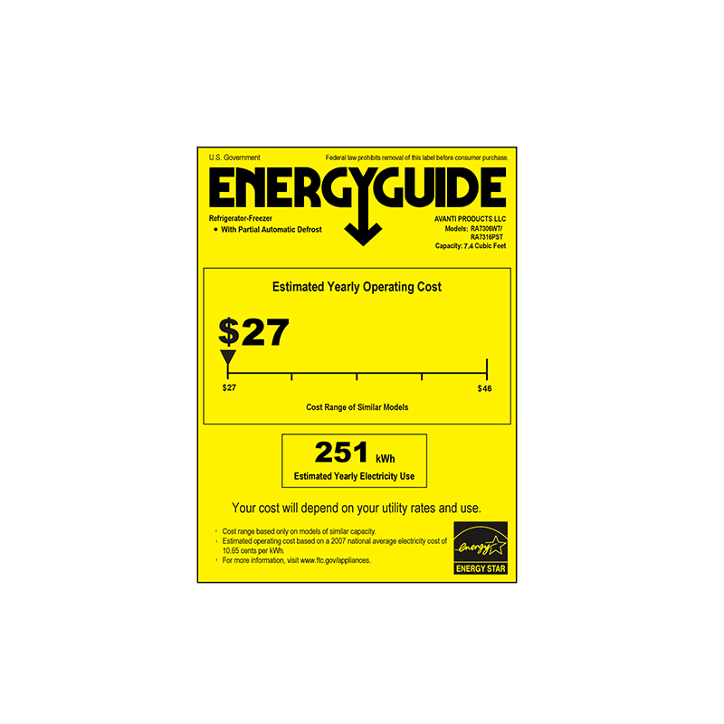 Avanti Cu Ft Energy Star Apartment Refrigerator