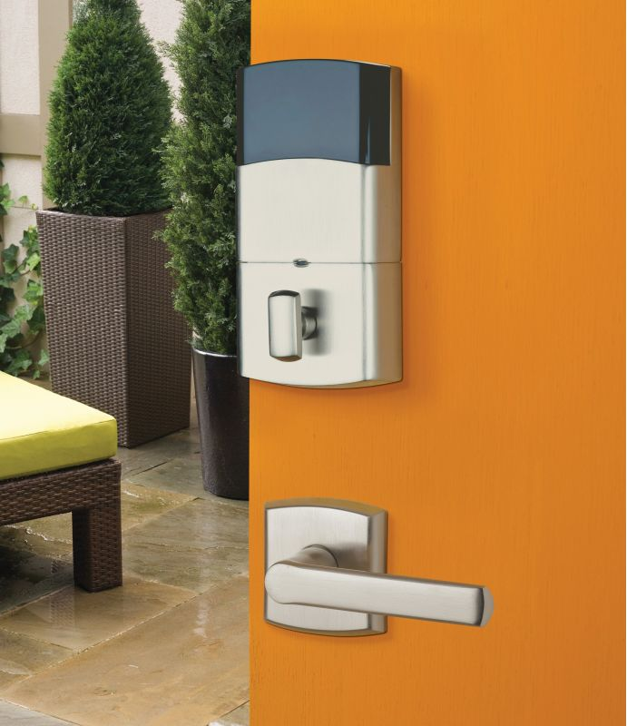 baldwin polished chrome soho electronic deadbolt with included handleset featuring a right handed soho lever