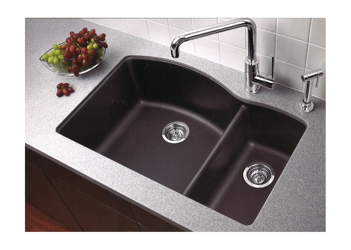 Blanco 440179 anthracite diamond 32 double basin undermount blanco 440179 anthracite diamond 32 double basin undermount silgranit ii kitchen sink with 6040 split faucet workwithnaturefo